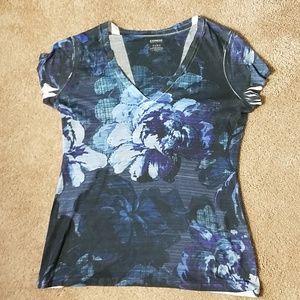 Express navy blue flower graphic short sleeve tee